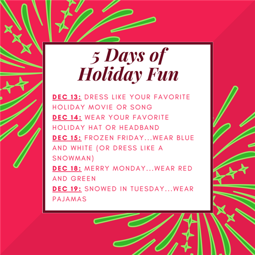 5 Days of Holiday Fun Dress Up Days