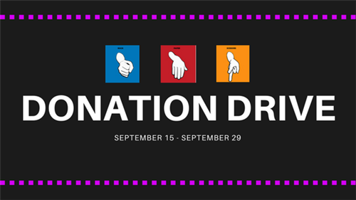 Donation Drive Sept. 15-29