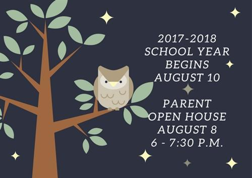 Save The Date: Parent Open House August 8, First Day of School August 10