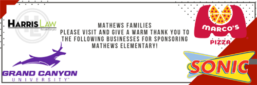 Mathews Families please visit and give a warm thank you to the following businesses for sponsoring Mathews!