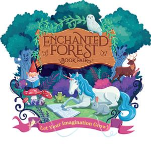 Enchanted Forest Book Fair Picture with unicorn and gnome. Let your imagination grow.
